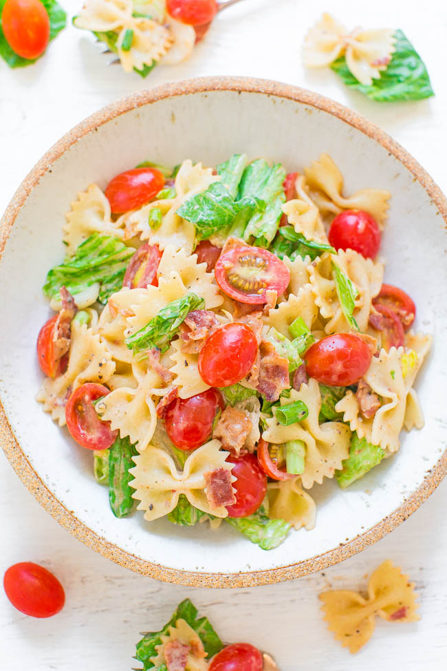 BLT Pasta Salad in white bowl