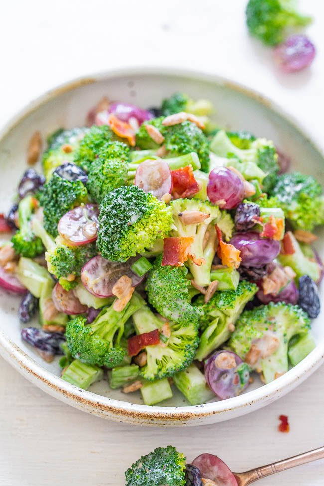 The Best Broccoli Salad - My FAVORITE recipe for the classic salad with a tangy dressing that everyone LOVES!! Flavor and texture galore in this EASY salad that's perfect for parties, picnics, and potlucks!!
