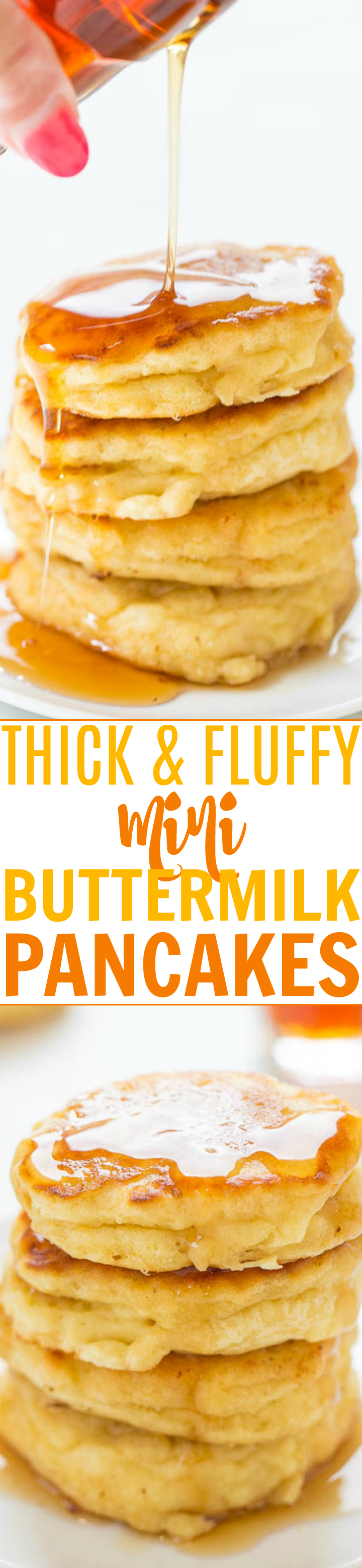 Thick and Fluffy Mini Pancakes — Your search for PERFECT buttermilk pancakes is over!! EASY, soft, fluffy, light, and the THICKEST pancakes I've ever made thanks to a special TRICK!!