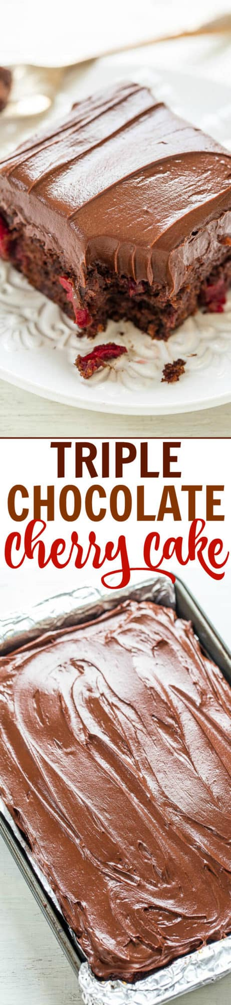 This Triple Chocolate Cherry Cake is loaded with juicy cherries and topped with an easy homemade chocolate frosting. I used a few shortcuts in this recipe to save time, but this cake tastes completely homemade!#cherry #chocolatecake #cakerecipe #cake #easycake #dessertrecipe #dessert #chocolatecherry #frosting #frostingrecipe