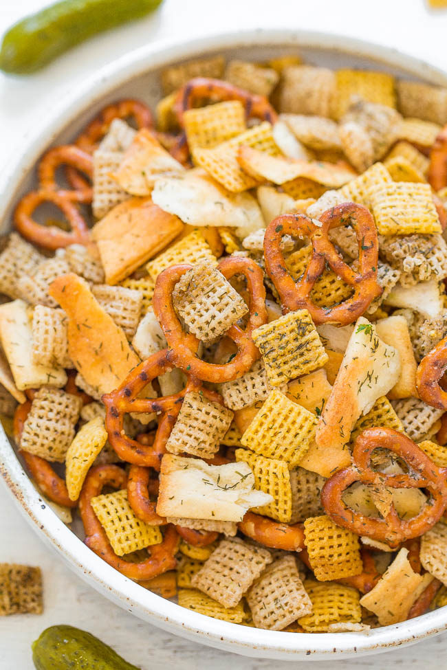 A white bowl filled with 5-Minute Dill Pickle Chex Mix
