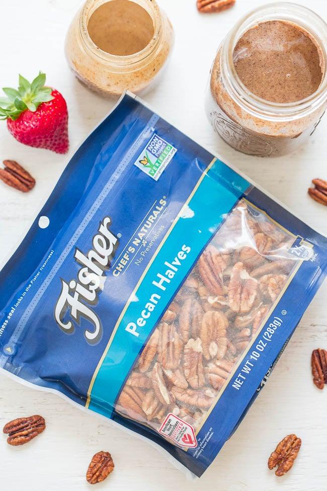 bag of Fisher pecan halves on countertop
