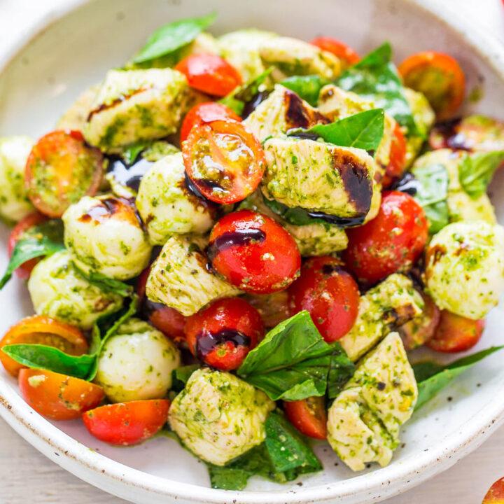 Pesto Chicken Caprese Salad