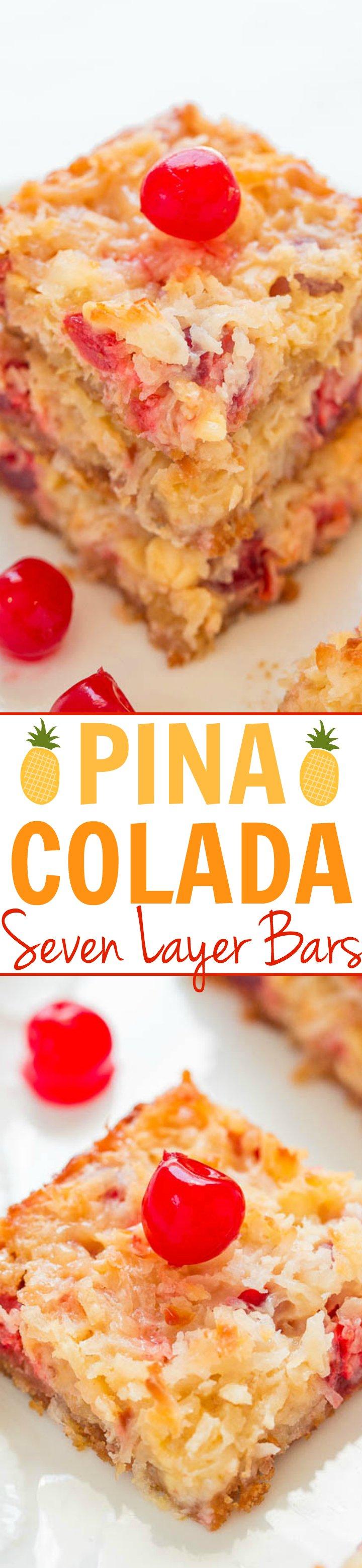 Pina Colada Seven Layer Bars Collage