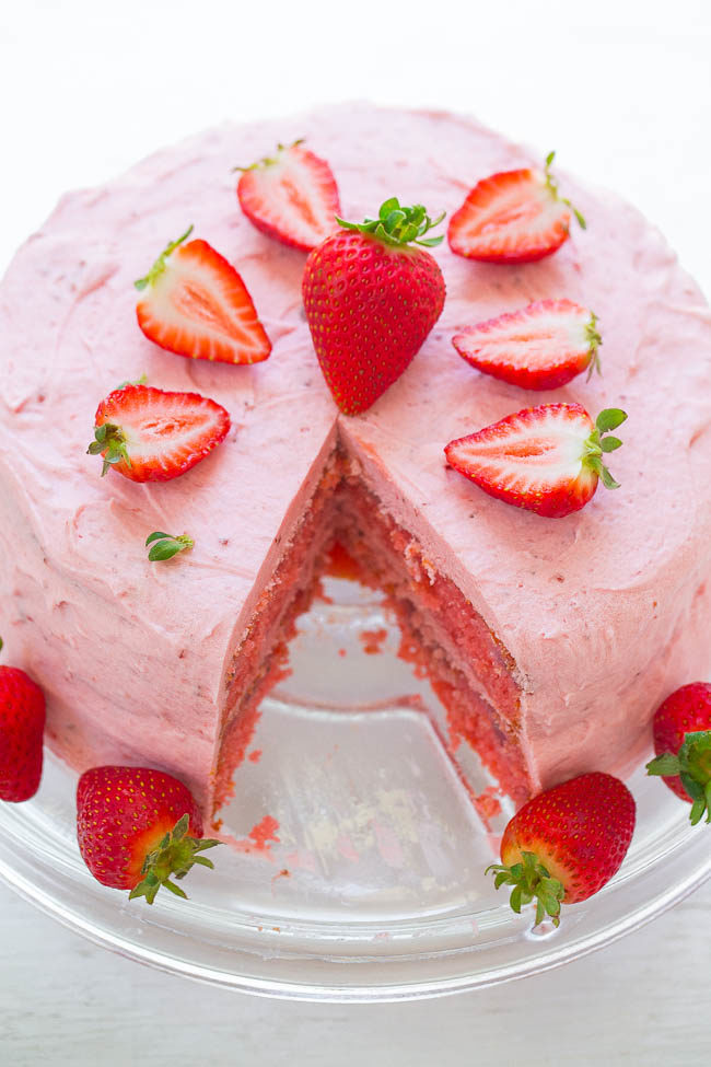 Strawberry Layer Cake with Strawberry Frosting
