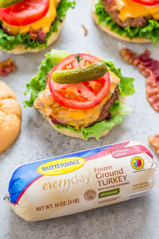 BLT Grilled Turkey Burgers — JUICY turkey burgers topped with cheese, bacon, lettuce, and tomato!! EASY, ready in 15 minutes, and perfect for summer parties!! Healthier than beef and IRRESISTIBLE!!