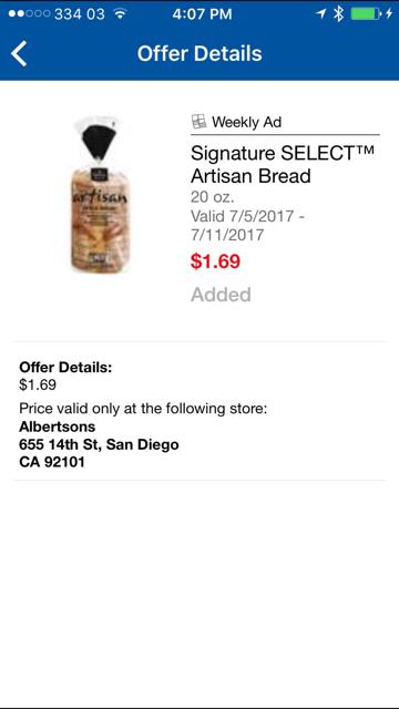 Screenshot image of bread on sale