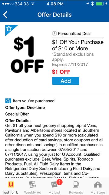 Screenshot image of a $1 off coupon