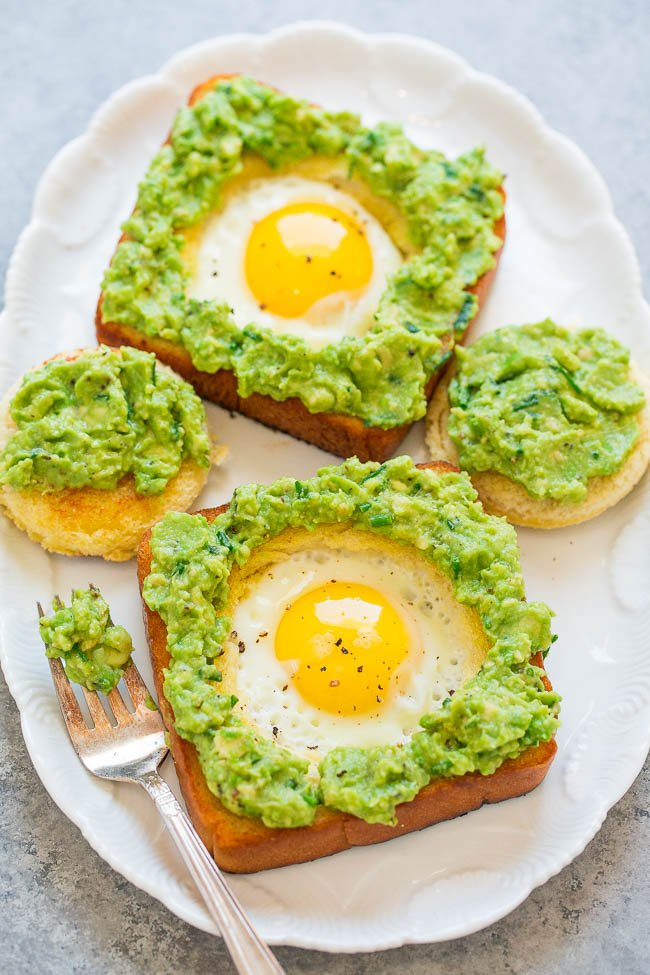 Avocado toast with egg served on platter