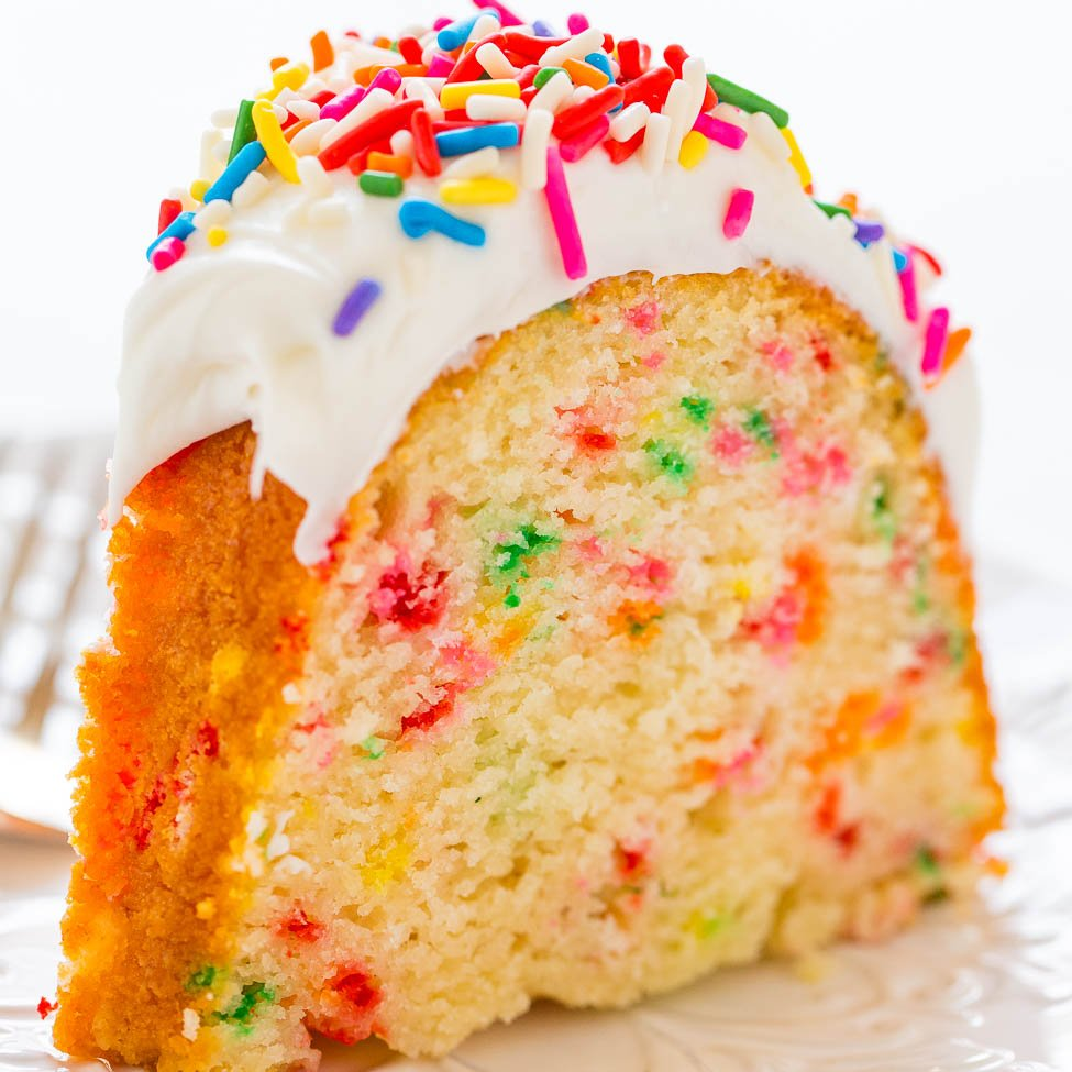 Pleasant Easy Homemade Funfetti Inspired Bundt Cake Averie Cooks Funny Birthday Cards Online Fluifree Goldxyz