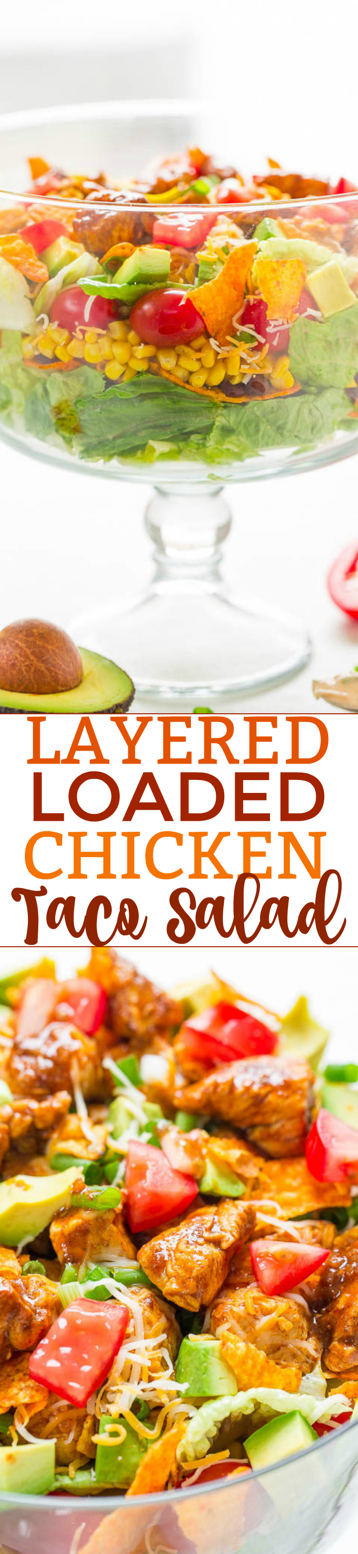 Layered Loaded Chicken Taco Salad - Juicy chicken, avocado, tomatoes, corn, black beans, cheese, tortilla chips, and more in this LOADED salad that's EASY and ready in 15 minutes!! A creamy lime-cilantro dressing adds tons of FLAVOR!!
