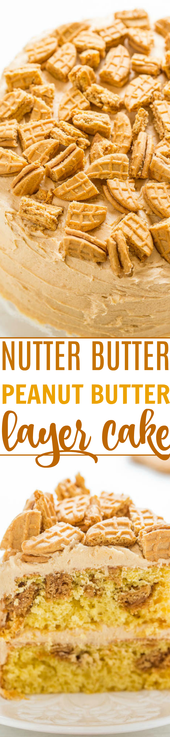 Nutter Butter Peanut Butter Layer Cake - Soft yellow cake with Nutter Butters baked in AND sprinkled on top!! The peanut butter FROSTING is rich, creamy, and decadent! Peanut butter fans will LOVE this cake!!