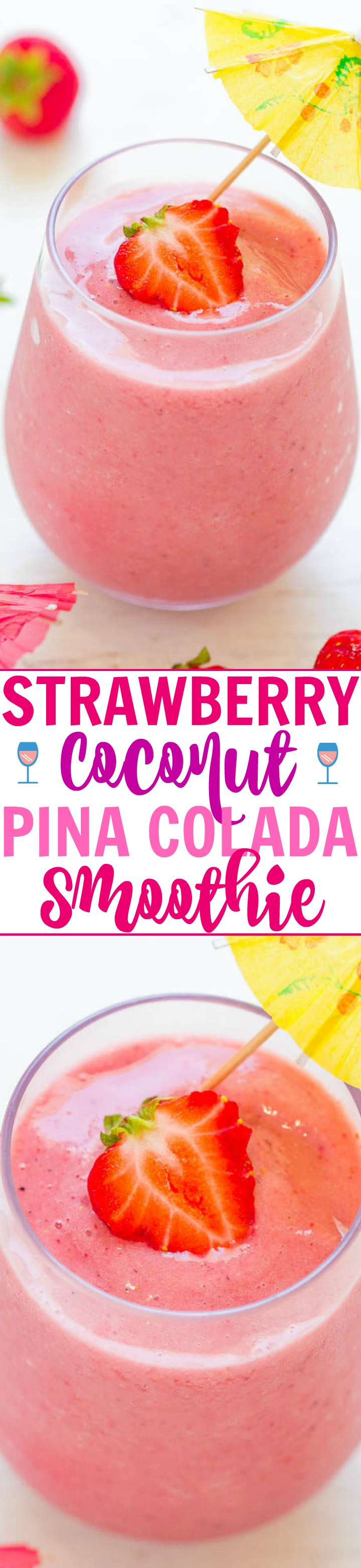 Strawberry Coconut Pina Colada Smoothie - A smoothie that tastes like a strawberry pina colada!! Fast, easy, refreshing, naturally sweet, and made with ONLY 3 INGREDIENTS!!
