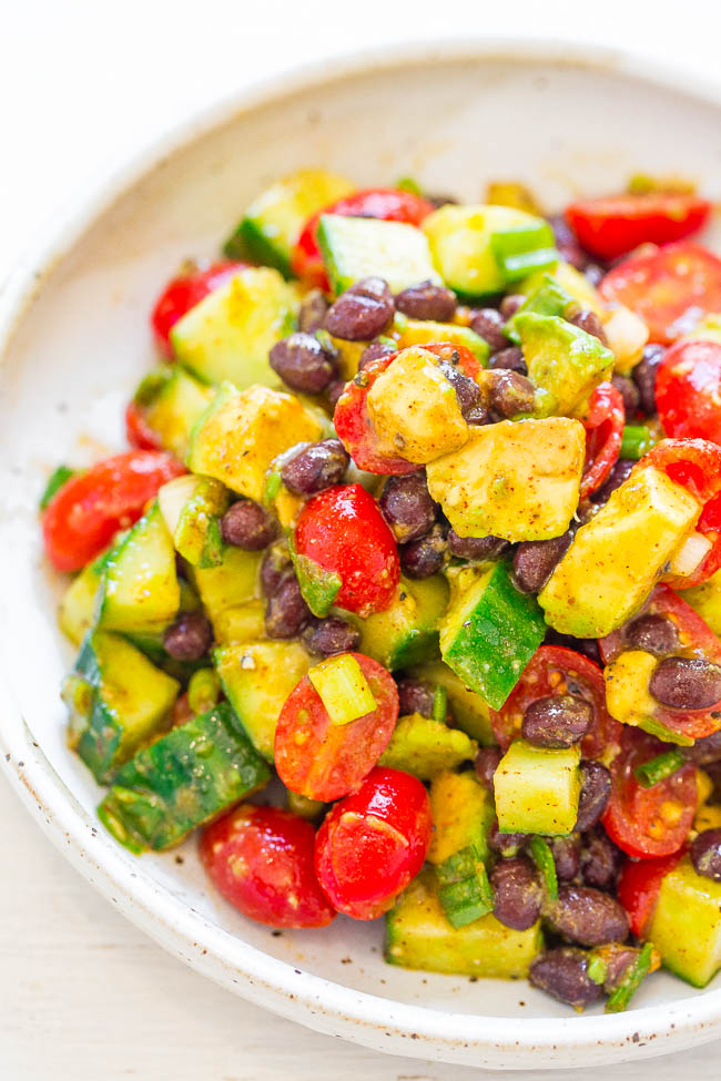 Avocado and Black Bean Mexican Salad - EASY, ready in 10 minutes, and there's so much FLAVOR from the lime-cumin-chili vinaigrette!! Great for lunch or a meatless Monday dinner! Accidentally vegan, gluten-free, HEALTHY, and DELISH!!