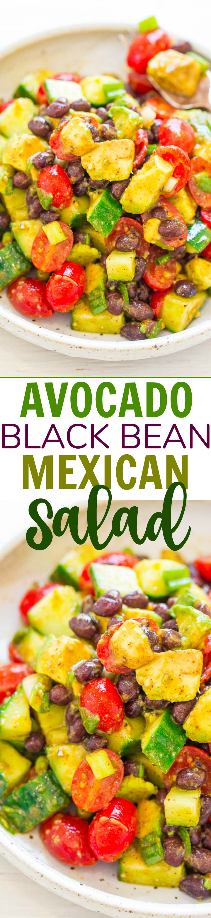 Avocado Black Bean Mexican Salad - EASY, ready in 10 minutes, and there's so much FLAVOR from the lime-cumin-chili vinaigrette!! Great for lunch or a meatless Monday dinner! Accidentally vegan, gluten-free, HEALTHY, and DELISH!!