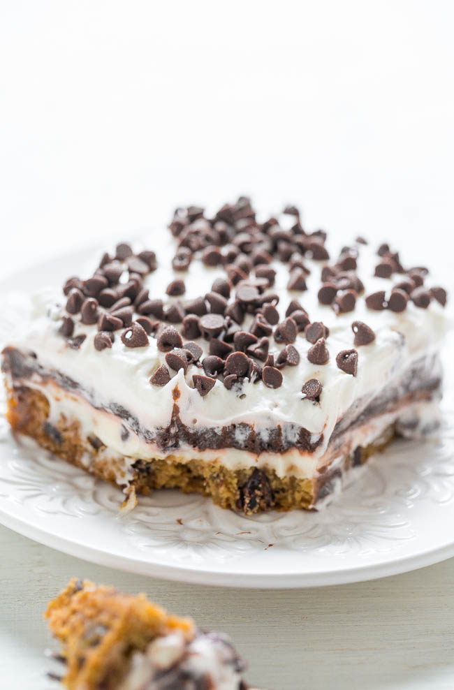 slice of Chocolate Chip Cookie Chocolate Lasagna