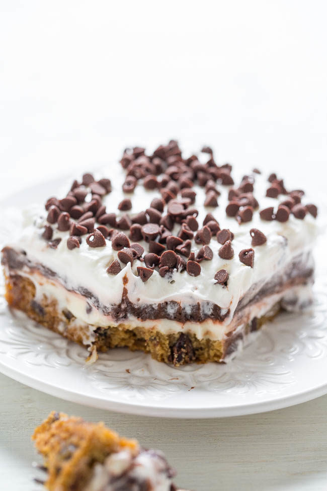 Chocolate chip cookie chocolate lasagna on a white plate