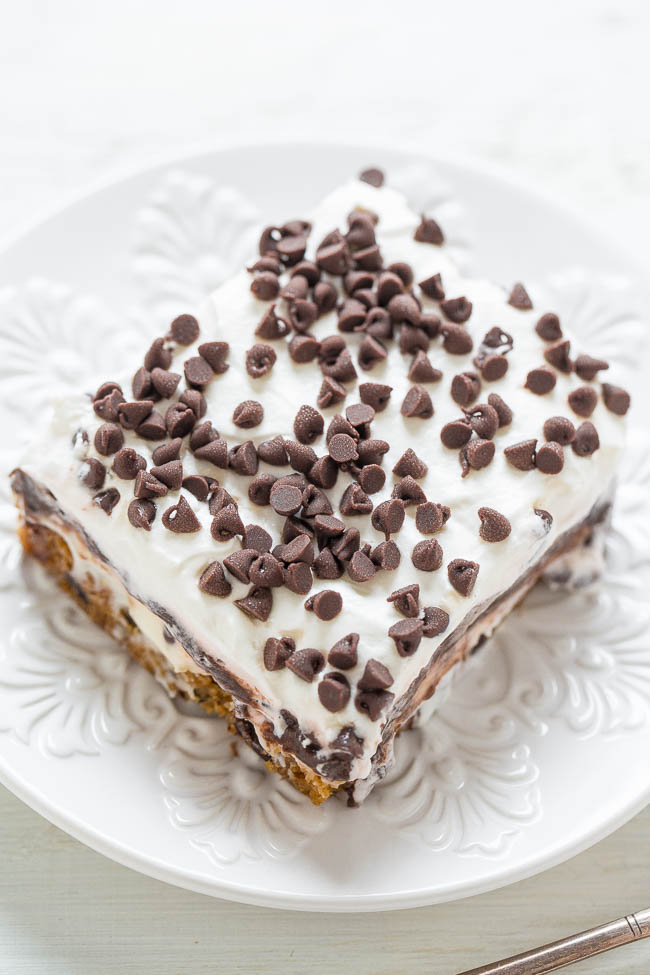 slice of Chocolate Chip Cookie Chocolate Lasagna on white plate