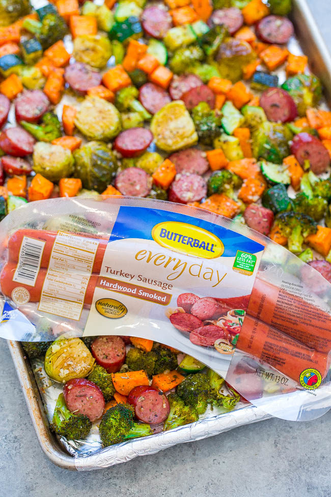 Sheet Pan Turkey Sausage and Vegetables - An EASY, one-pan recipe the whole family will love!! Seasoned crisp-tender veggies, juicy sausage, and Parmesan cheese for the DELISH dinnertime WIN!!