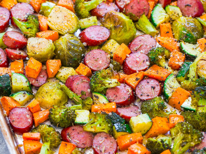 Sheet Pan Turkey Sausage And Vegetables Averie Cooks