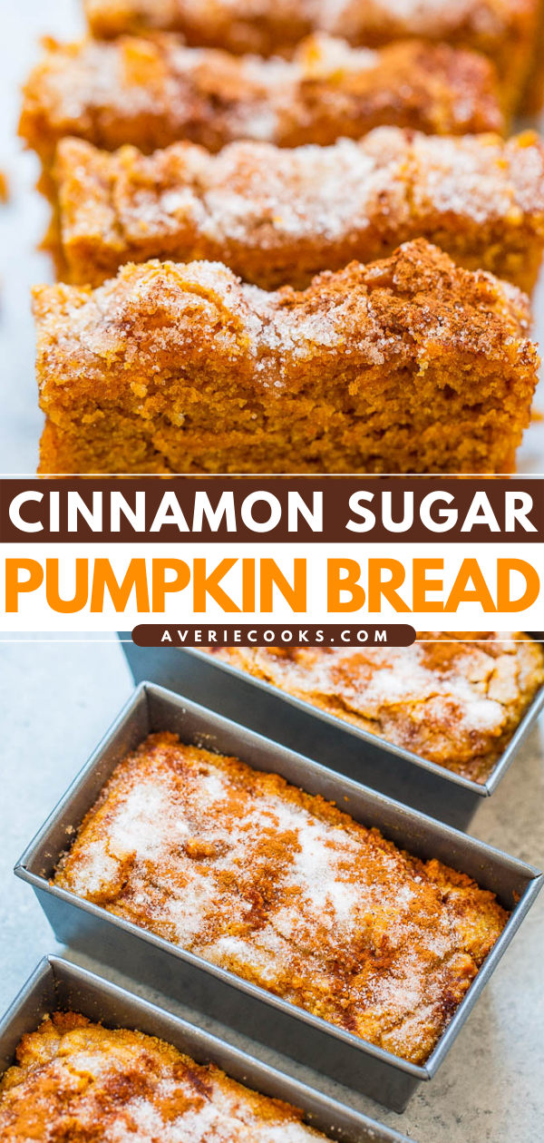 Cinnamon Sugar Pumpkin Bread — Super soft, tender, moist pumpkin bread with a slightly crunchy cinnamon sugar topping!! The mini loaves are EASY, brimming will fall flavors, totally IRRESISTIBLE, and accidentally vegan!!