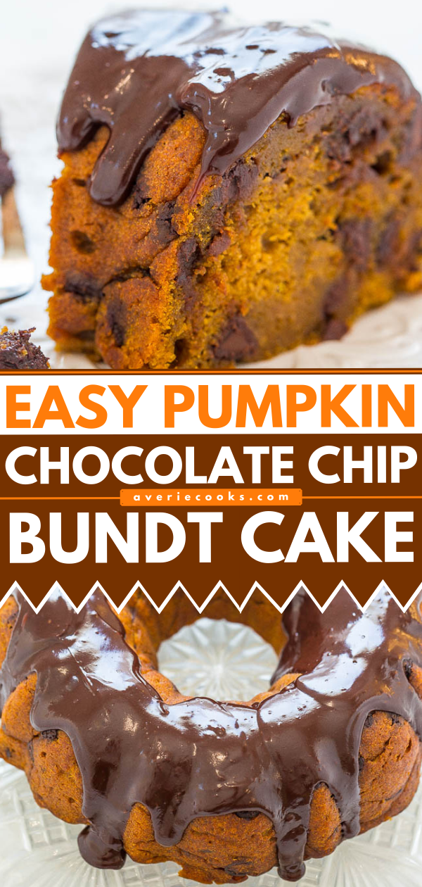 Pumpkin Chocolate Chip Bundt Cake - Fast, EASY, and the moistest pumpkin cake you'll ever taste!! Loaded with chocolate chips in every bite and topped with a heavenly chocolate ganache! Sinfully rich and decadent!!