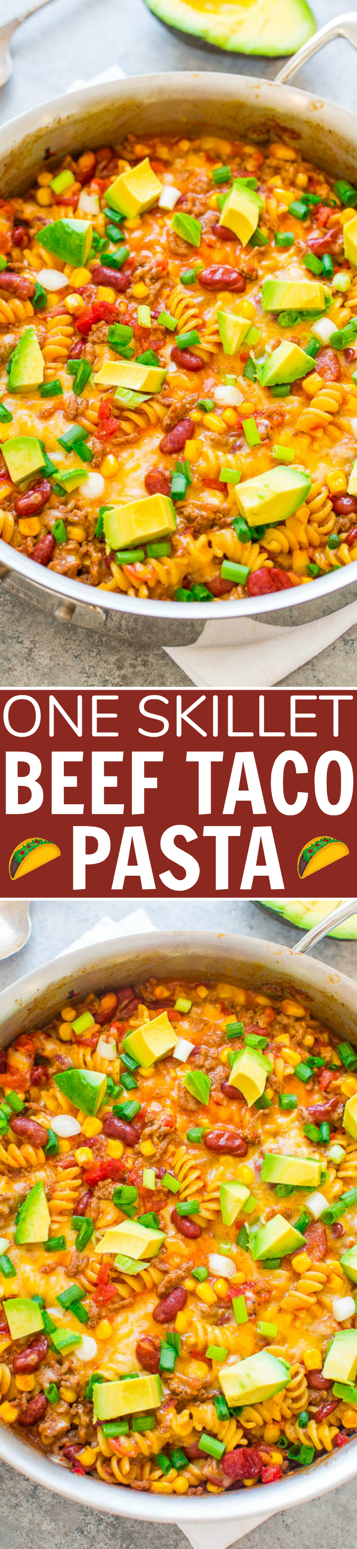 One Skillet Beef Taco Pasta - An EASY recipe that's ready in 20 minutes, made in ONE skillet, and loaded with Mexican-inspired flavors!! A family favorite that's great for busy weeknights!!