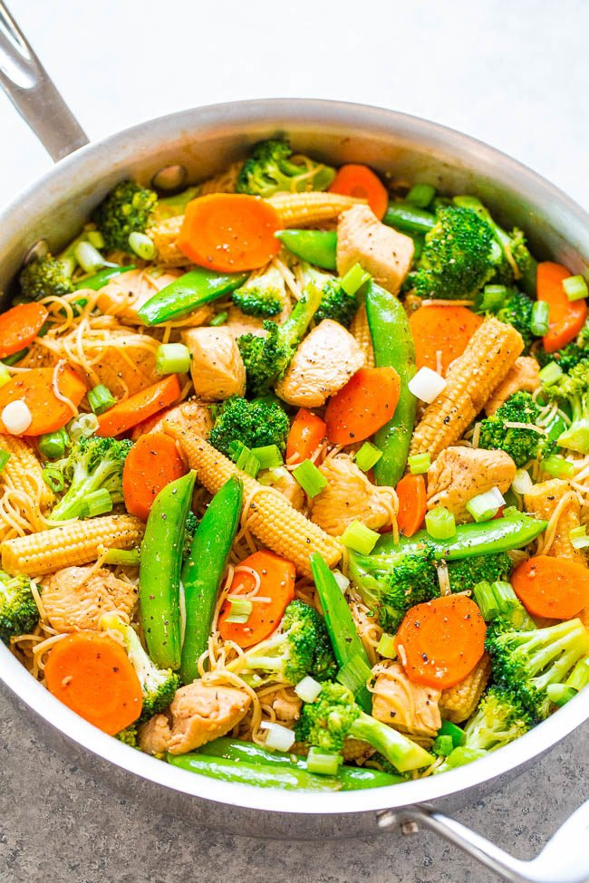 Overhead shot of chicken stir fry with noodles