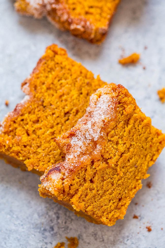 two slices of cinnamon pumpkin bread