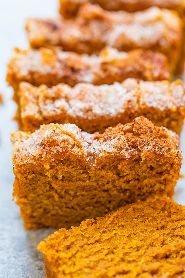 sliced loaf of Cinnamon Sugar Pumpkin Bread