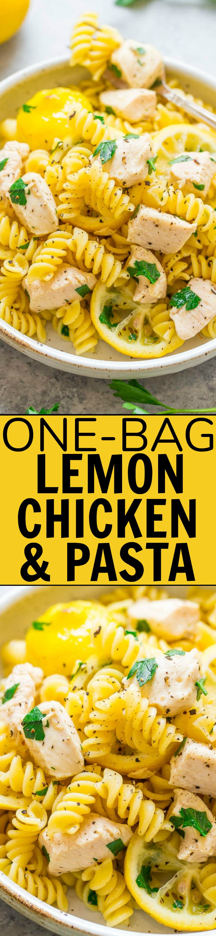 One-Bag Lemon Chicken and Pasta - An EASY lemon chicken and pasta recipe that's family-friendly and perfect for busy weeknights!! Everything cooks in ONE bag! The chicken is juicy, the pasta is tender, and cleanup is a breeze!!