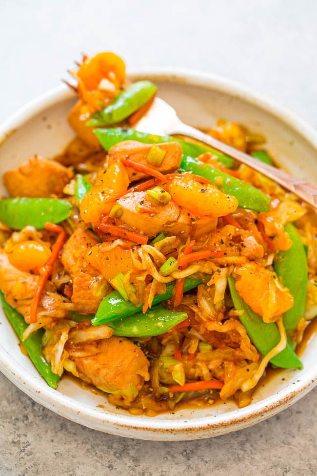 Mandarin Orange Chicken Stir-Fry on a white plate