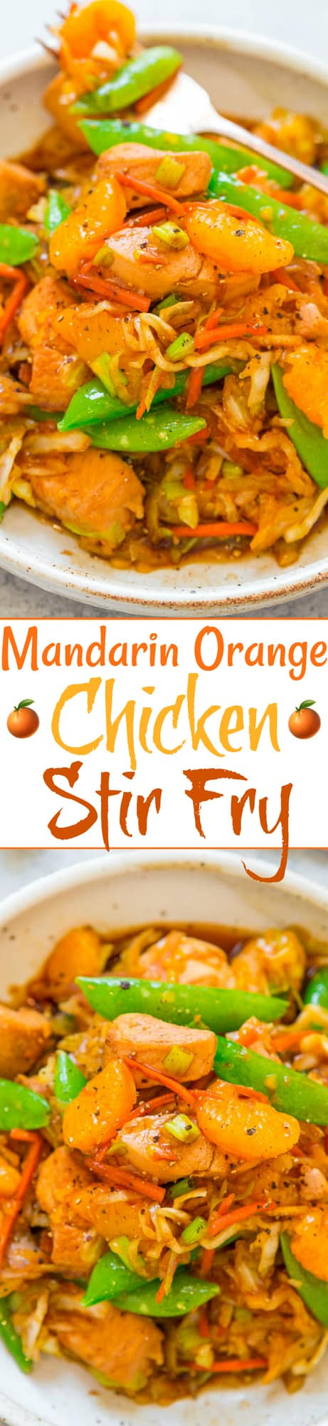 Mandarin Orange Chicken Stir Fry - An EASY Asian stir fry with tender chicken, juicy oranges, and veggies!! Skip takeout and make this ONE skillet recipe that's ready in 15 minutes and perfect for busy weeknights!!