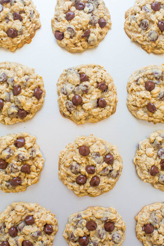 easy oatmeal cookies on cookie sheet