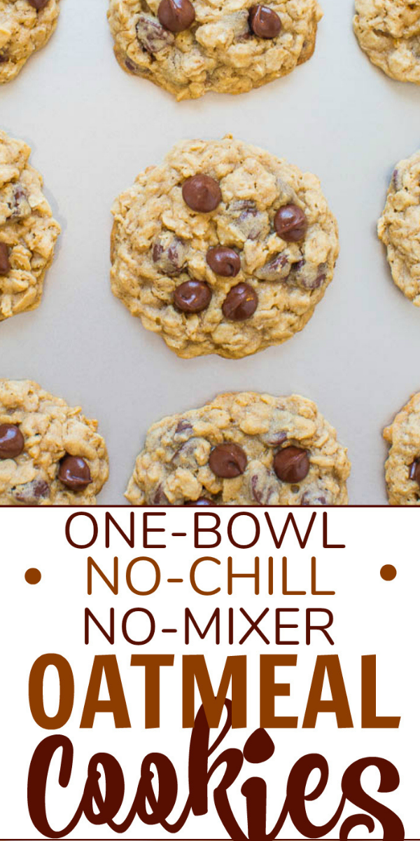 Easy ONE BOWL, NO MIXER, NO CHILL Oatmeal Cookies— An incredibly FAST and EASY recipe that produces perfectly thick cookies with chewy edges and soft centers!! One bowl to wash, no mixer to drag out, and no waiting around!!
