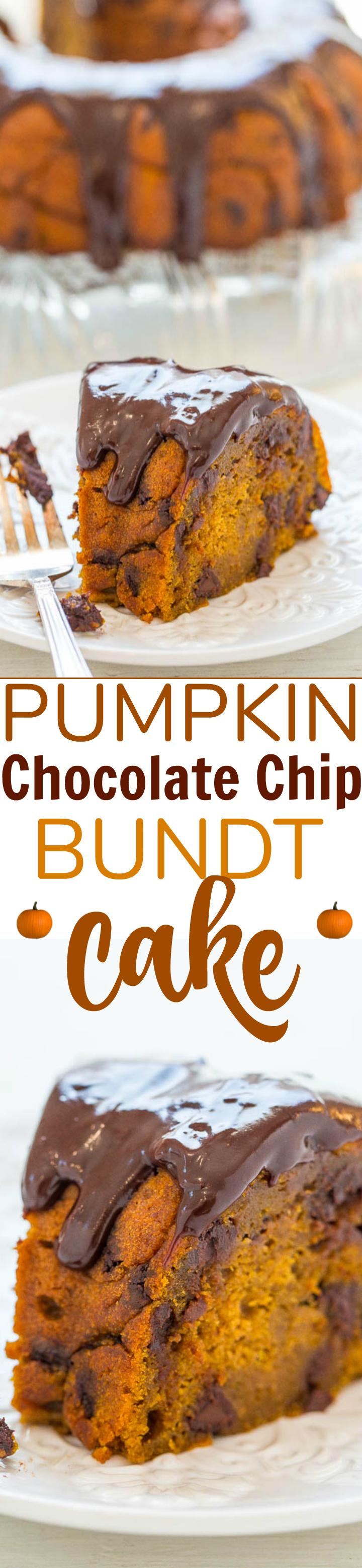 Pumpkin Chocolate Chip Bundt Cake With Chocolate Ganache