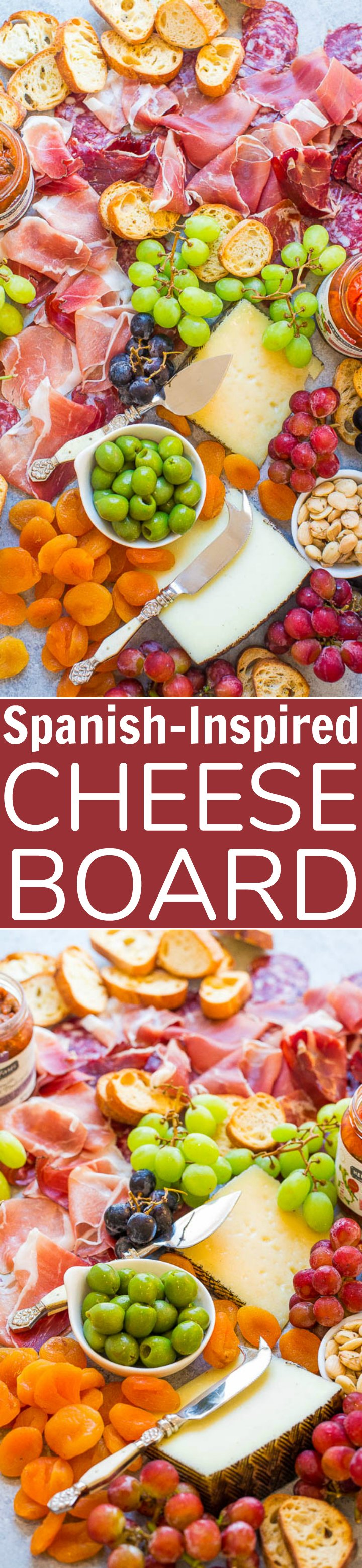 Two picture collage of a Spanish Inspired cheese board with graphics