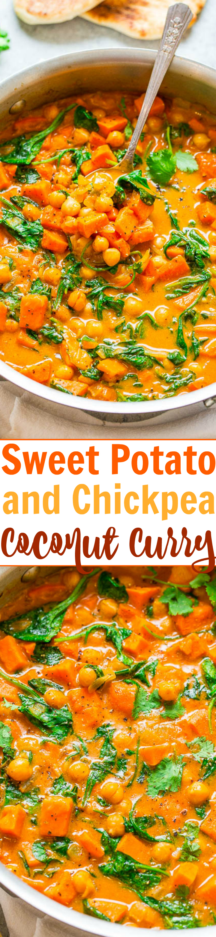 Sweet Potato and Chickpea Coconut Curry - An EASY one-skillet curry that's ready in 30 minutes and is layered with so many fabulous flavors!! HEALTHY comfort food that tastes AMAZING!!