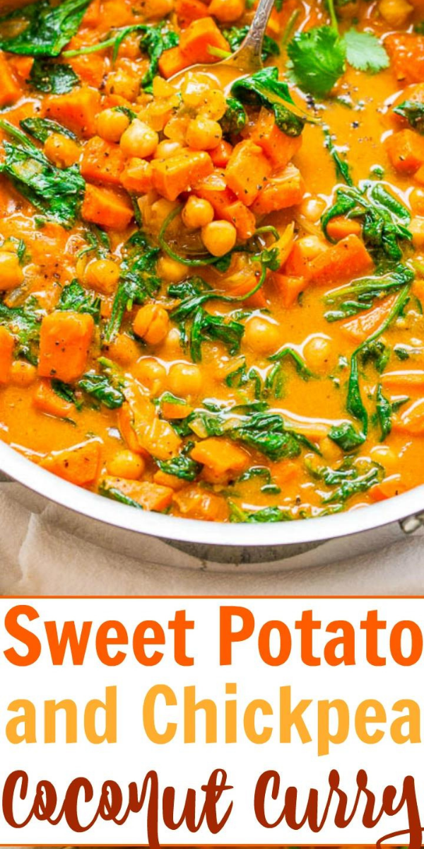 Chickpea Sweet Potato Curry — An EASY one-skillet curry that's ready in 30 minutes and is layered with so many fabulous flavors!! HEALTHY comfort food that tastes AMAZING!!