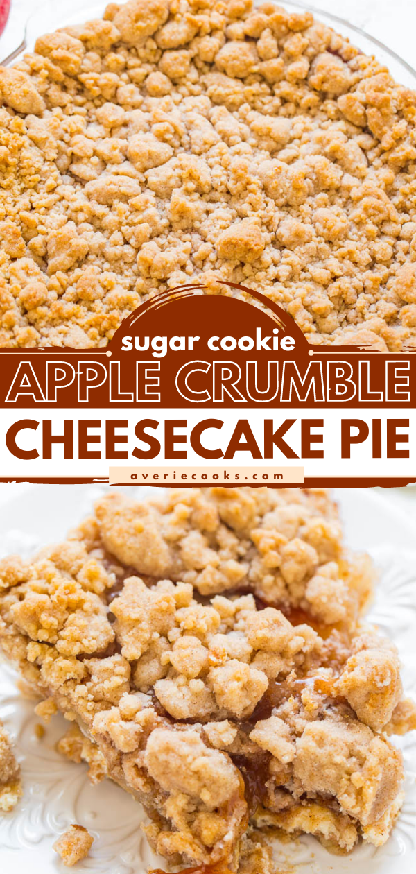 Sugar Cookie Apple Cream Cheese Pie — A buttery sugar cookie crust, tangy cream cheese filling, tender juicy apples, and a crumble topping make this pie a total SHOWSTOPPER!! EASY and THE BEST apple pie!!