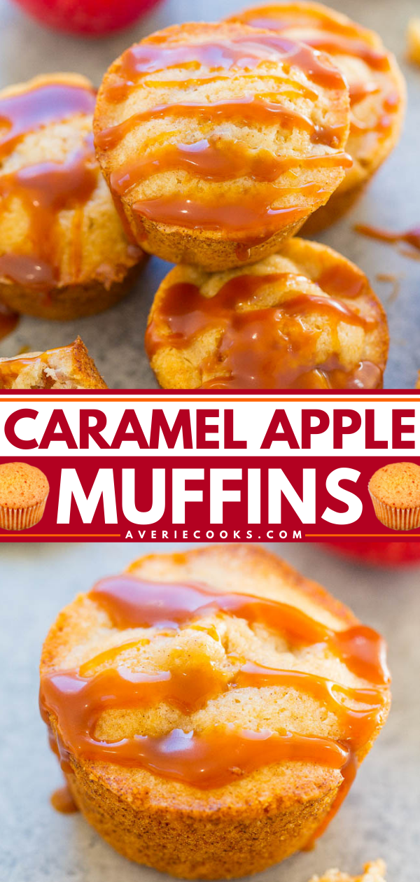 Caramel Apple Muffins — Soft, fluffy, springy, loaded with chunks of apples, and so much CARAMEL flavor!! EASY, no mixer needed, and you'd never guess they're accidentally vegan!!