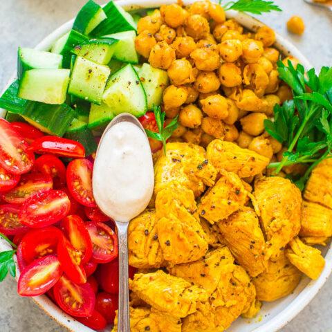 Easy Chicken Shawarma Salad Bowls