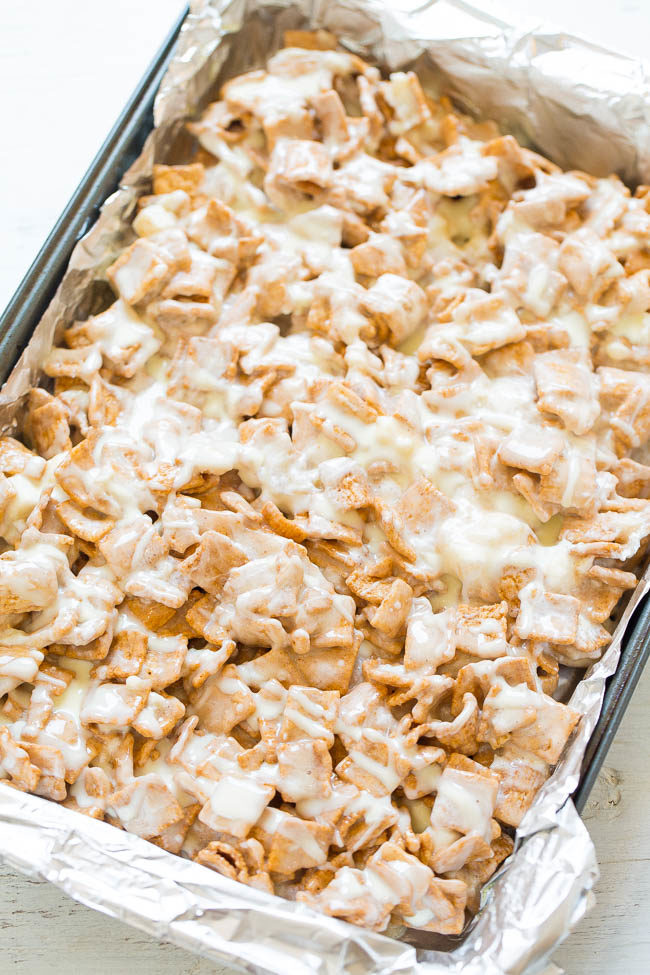 Overhead picture of No-Bake White Chocolate Cinnamon Toast Crunch Bars