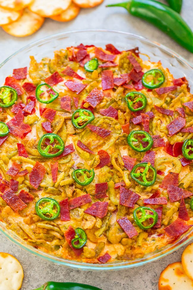 Bacon Jalapeño Popper Dip - Same great flavor as bacon-wrapped jalapeño poppers, minus the work!! Creamy, CHEESY, loaded with bacon, and topped with CRISPY jalapeños! Fast, EASY, perfect for parties!!