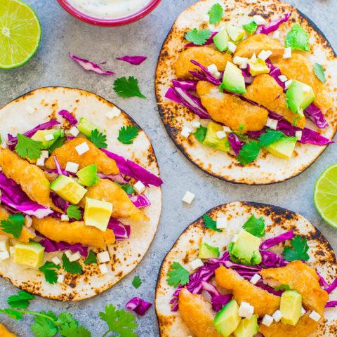 Beer Battered Shrimp Tacos with Lime Crema