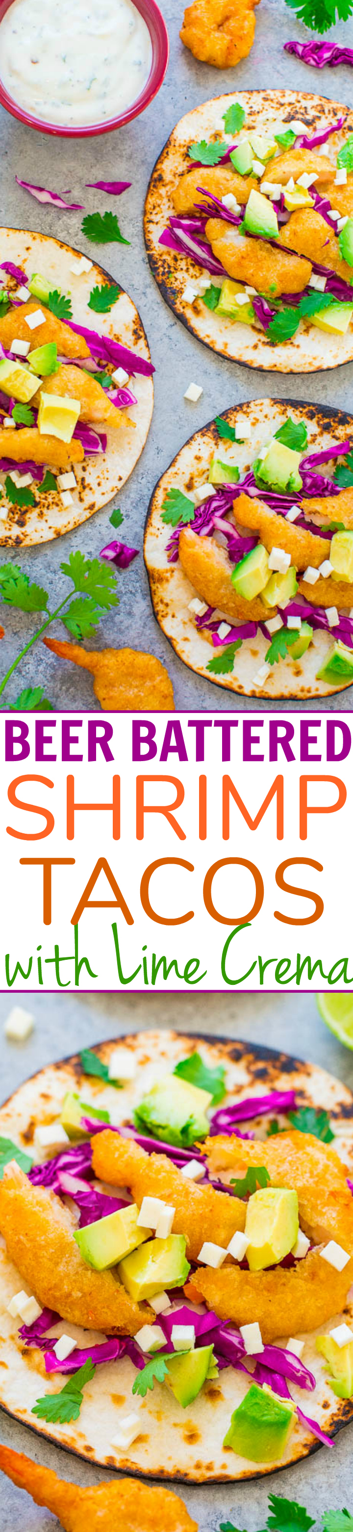 Beer Battered Shrimp Tacos with Lime Crema - Fast, EASY, restaurant-quality tacos at home!! Juicy beer-battered shrimp, avocado, cheese, and a zesty lime crema to top it off! Perfect for weeknight dinners and easy entertaining!!