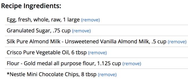 Screenshot of muffins ingredients