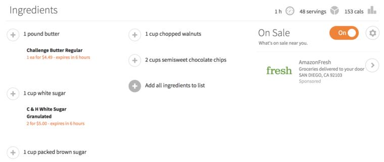 Ingredients screen shot