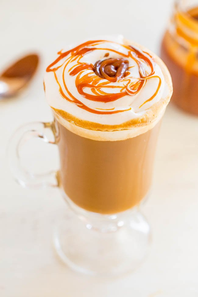 Caramel Macchiato {Copycat Recipe} - An EASY, at-home recipe for the beloved coffee shop drink!! It tastes AMAZING and your wallet will thank you! No espresso maker or milk frother required!!