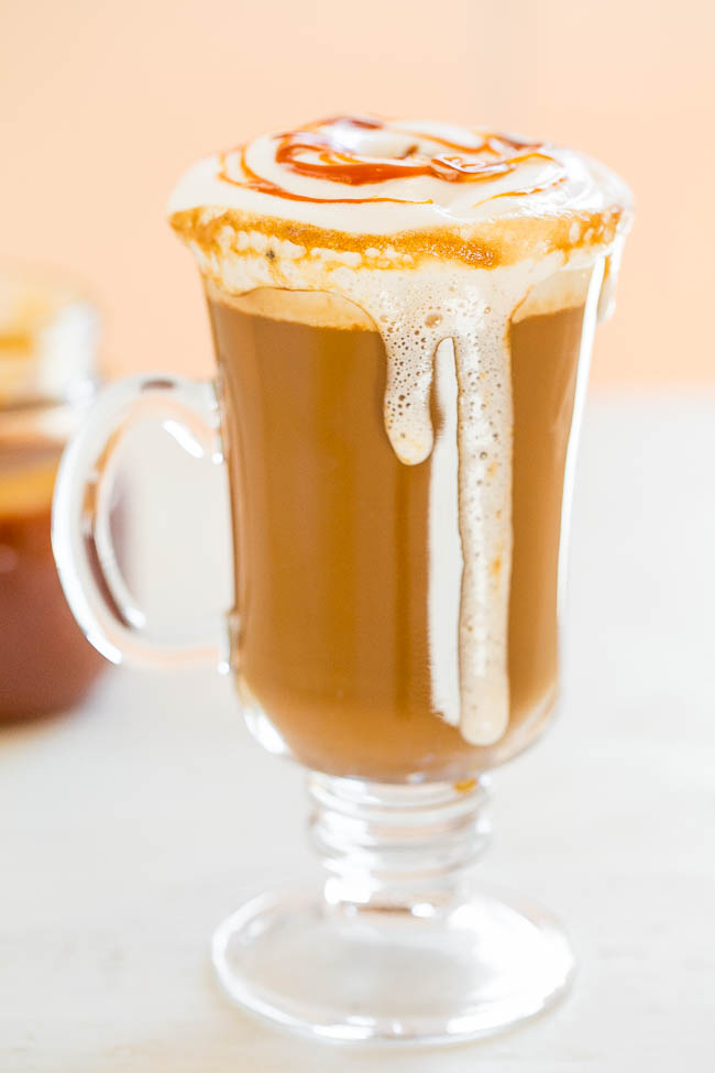 Caramel Macchiato {Copycat Recipe} – An EASY, at-home recipe for the beloved coffee shop drink!! It tastes AMAZING and your wallet will thank you! No espresso maker or milk frother required!!